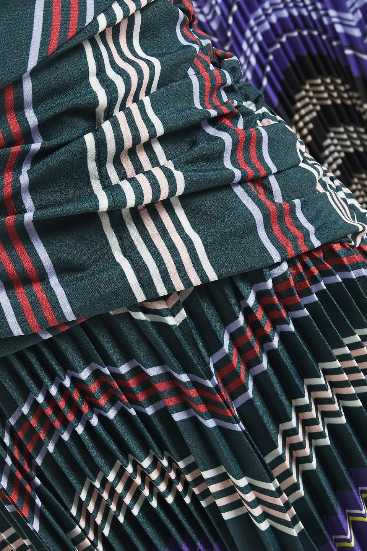 Altuzarra | Altuzarra Woman Pleated Striped Crepe And Ribbed-knit Midi Dress Light Blue | Clouty