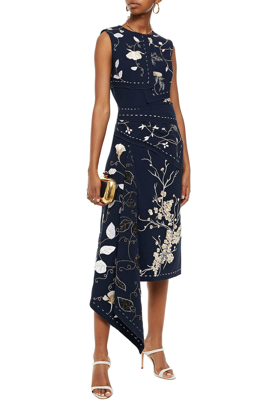 Oscar De La Renta | Oscar De La Renta Woman Asymmetric Embroidered Wool-blend Crepe Midi Dress Navy | Clouty