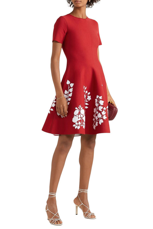 Oscar De La Renta | Oscar De La Renta Woman Intarsia Stretch-knit Dress Brick | Clouty