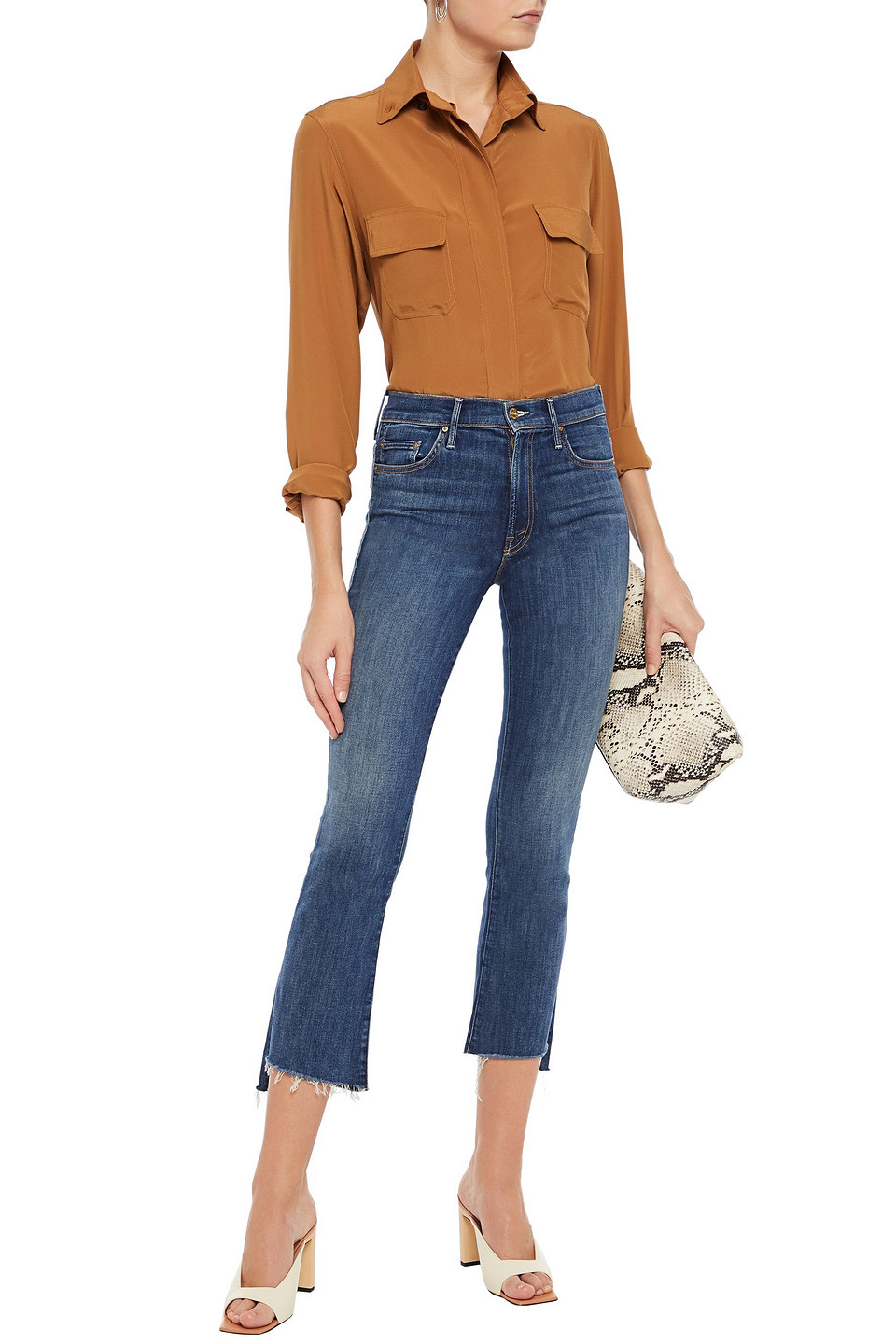 Mother | Mother Woman The Insider Cropped Mid-rise Bootcut Jeans Mid Denim | Clouty