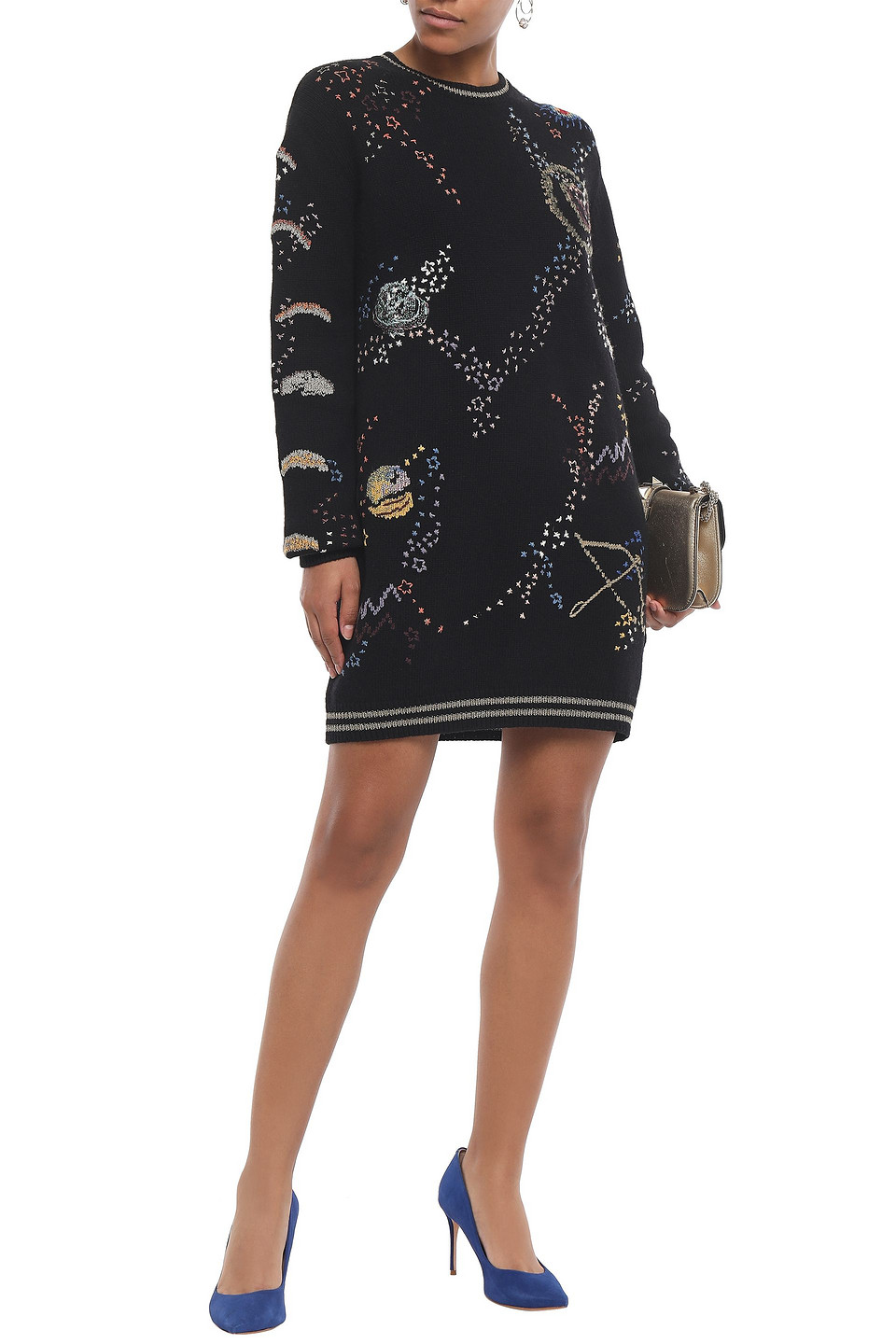 VALENTINO | Valentino Woman Embroidered Wool And Cashmere-blend Mini Dress Black | Clouty