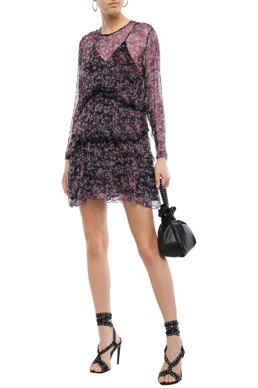 IRO | Iro Woman Society Tiered Printed Georgette Mini Dress Plum | Clouty