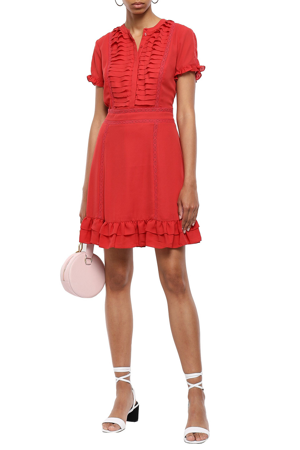 Rebecca Minkoff | Rebecca Minkoff Woman Pleated Lace-trimmed Crepe Mini Dress Brick | Clouty