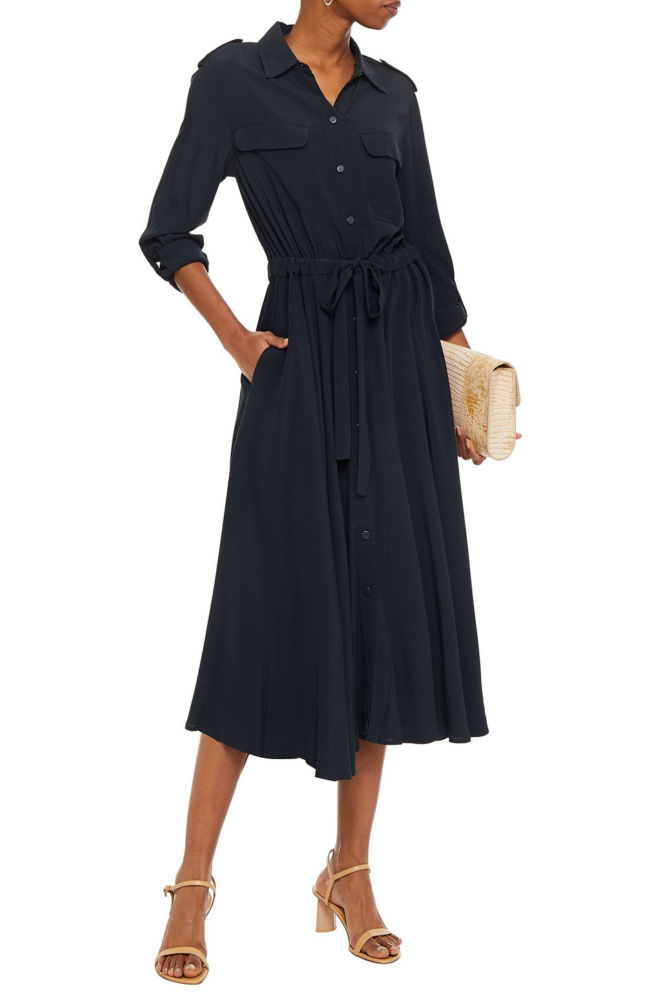 Equipment | Equipment Woman Gathered Crepe Midi Shirt Dress Navy | Clouty