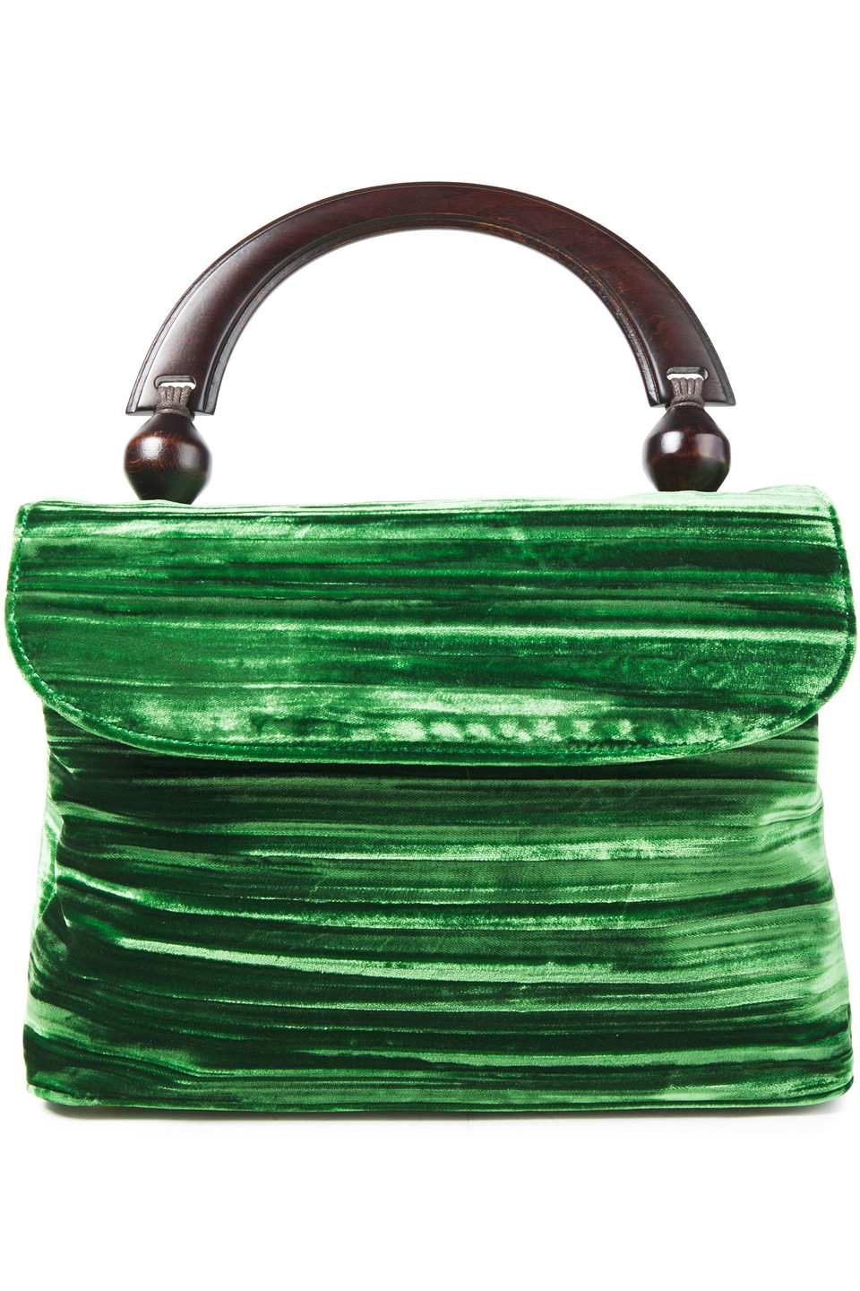By Far | By Far Woman Fiona Crushed-velvet Tote Emerald | Clouty