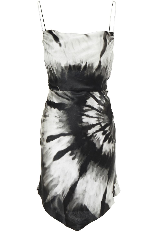 Retrofête | Retrofete Woman Asymmetric Draped Tie-dyed Silk-satin Mini Dress Black | Clouty