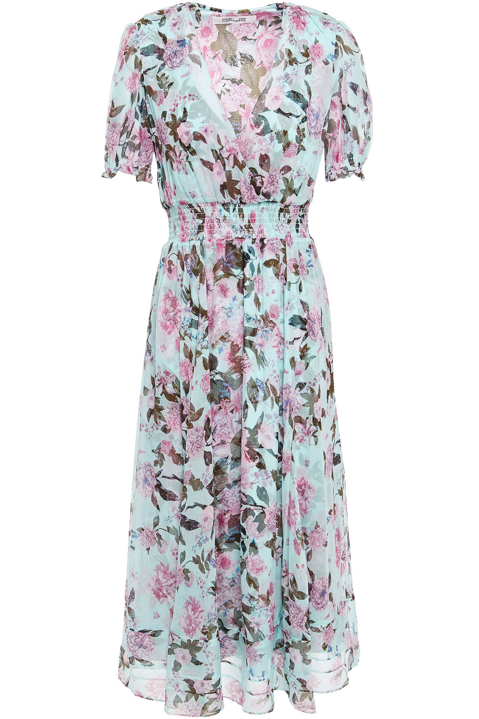 Diane Von Furstenberg | Diane Von Furstenberg Woman Wrap-effect Shirred Floral-print Silk-crepon Midi Dress Turquoise | Clouty