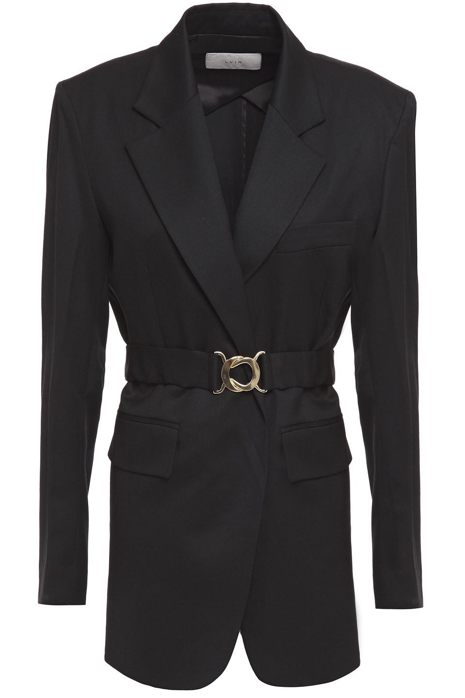 LVIR   Lvir Woman Belted Wool-twill Blazer Black   Clouty