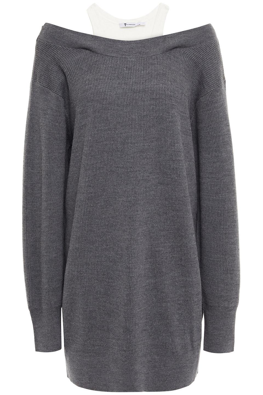 T by Alexander Wang | Alexanderwang.t Woman Layered Ribbed Jersey And Merino Wool-blend Mini Dress Gray | Clouty
