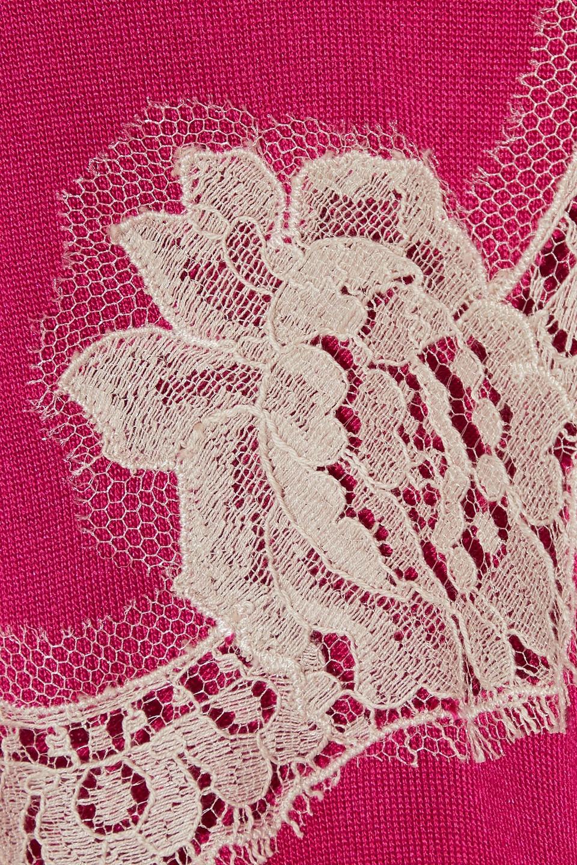 Dolce & Gabbana | Dolce & Gabbana Woman Lace-paneled Silk Cardigan Fuchsia | Clouty
