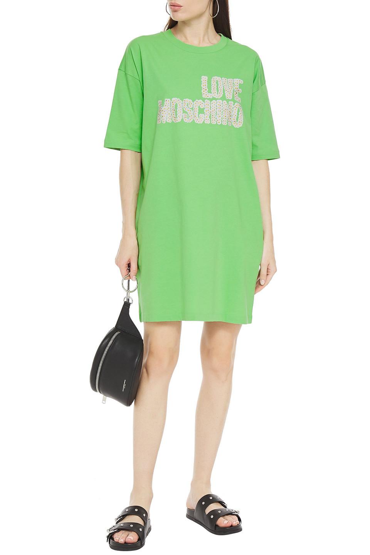Love Moschino | Love Moschino Woman Printed Cotton-jersey Mini Dress Lime Green | Clouty