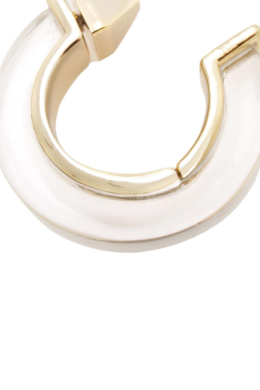 Alexis Bittar | Alexis Bittar Woman Gold-tone Stone Hoop Earrings Clear | Clouty