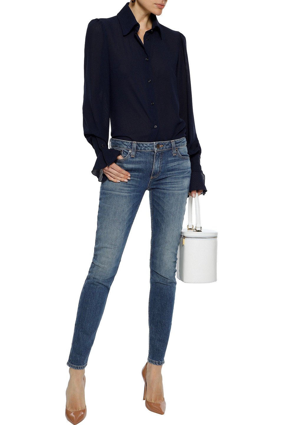 Alice + Olivia | Alice + Olivia Woman Low-rise Faded Skinny Jeans Mid Denim | Clouty