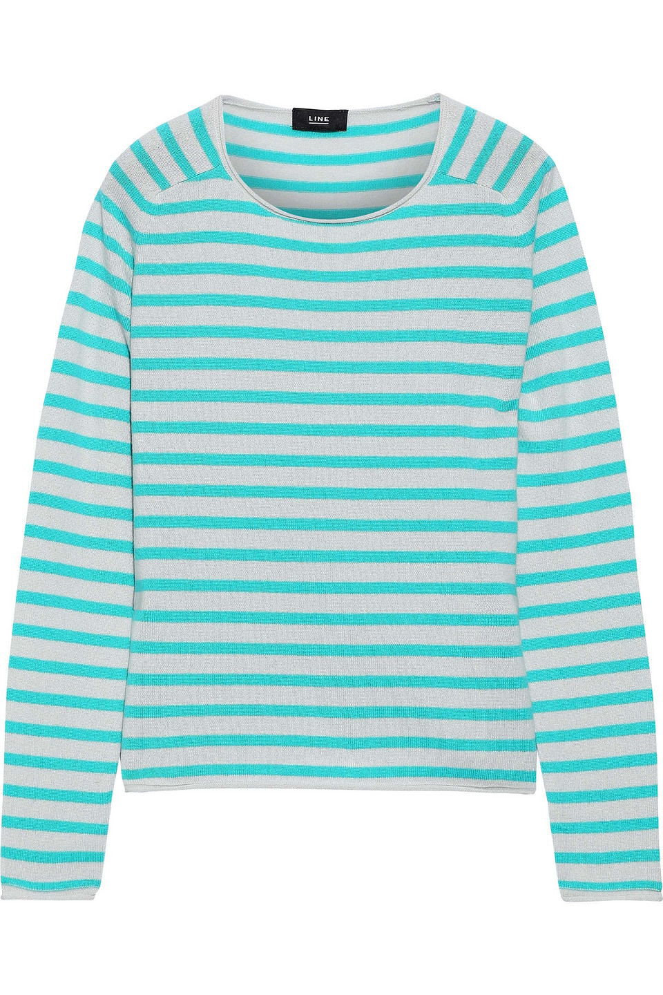 Line   Line Woman Jackie Striped Cashmere Sweater Turquoise   Clouty