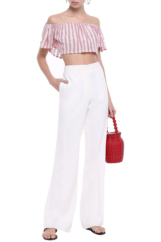 Sundress | Sundress Woman Jade Cropped Off-the-shoulder Sequin-embellished Gauze Top Pink | Clouty