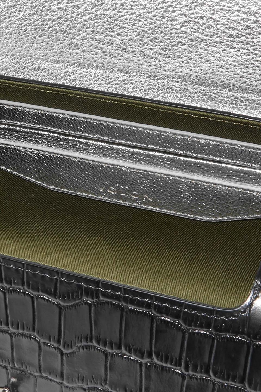 THE VOLON   The Volon Woman Po Trunk Croc-effect Leather Shoulder Bag Black   Clouty