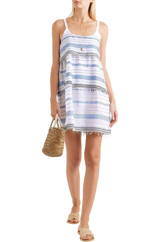 Lemlem   Lemlem Woman Tiki Tiered Embroidered Cotton-blend Gauze Mini Dress Blue   Clouty