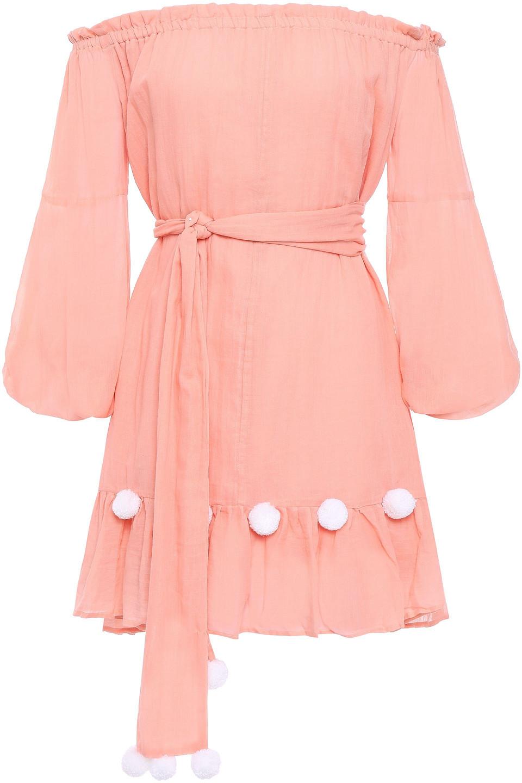 Sundress | Sundress Woman Charlotte Off-the-shoulder Pom Pom-trimmed Cotton-gauze Coverup Peach | Clouty