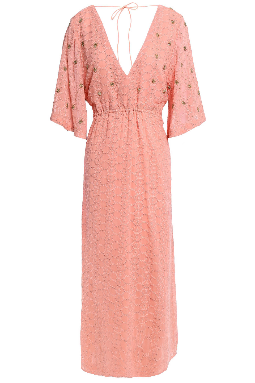 Sundress | Sundress Woman Bead-embellished Georgette Midi Dress Peach | Clouty