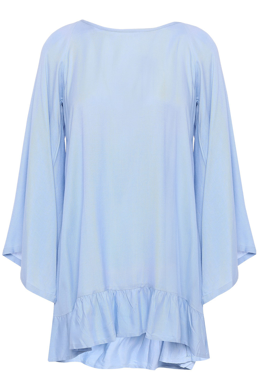 Sundress | Sundress Woman Cannelle Pom Pom And Bead-trimmed Woven Mini Dress Light Blue | Clouty