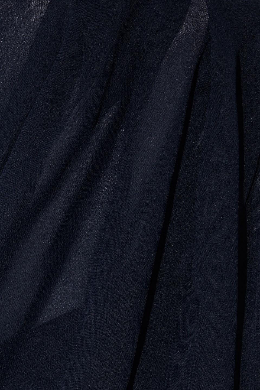 Cushnie | Cushnie Woman One-shoulder Draped Chiffon And Silk Crepe De Chine Mini Dress Navy | Clouty