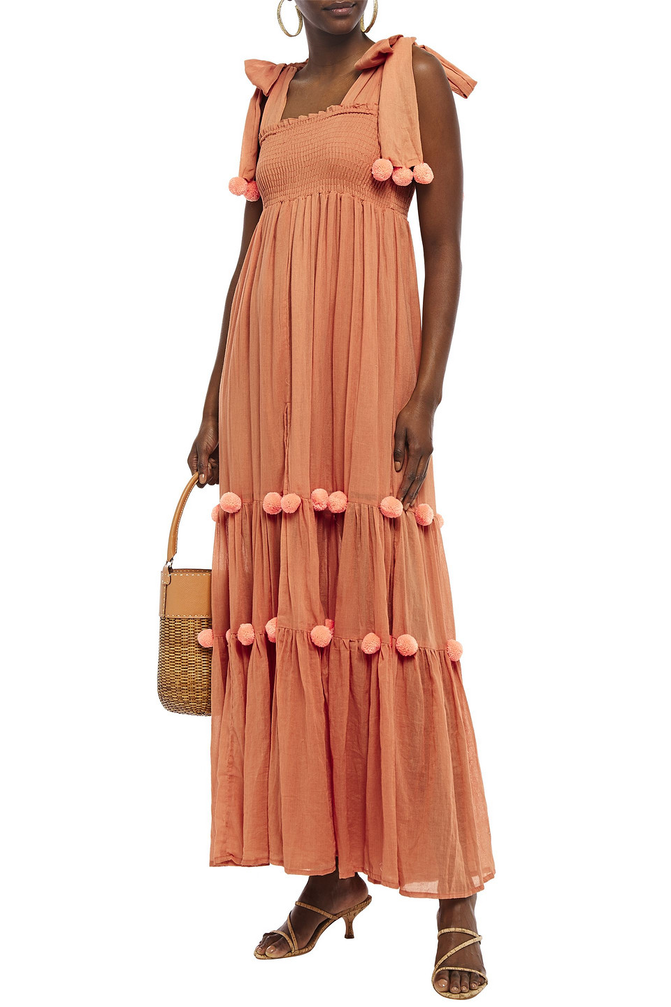 Sundress | Sundress Woman Pippa Pompom-embellished Smocked Cotton Maxi Dress Peach | Clouty