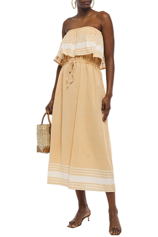 Sundress | Sundress Woman Strapless Layered Striped Cotton-blend Gauze Coverup Sand | Clouty