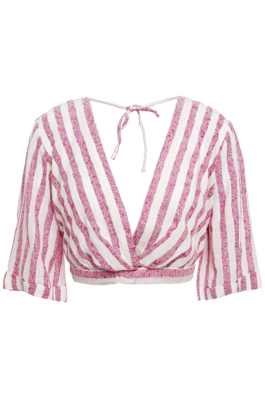 Sundress | Sundress Woman Havana Cropped Striped Cotton-gauze Beach Top Pink | Clouty