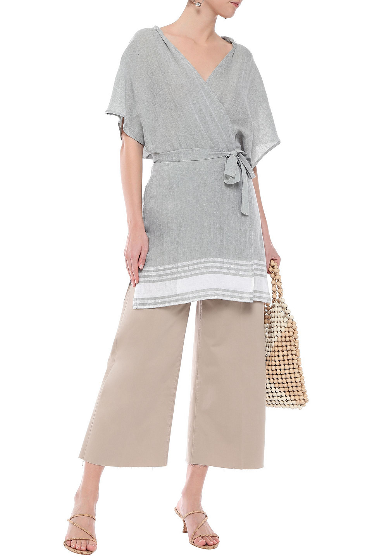 Sundress | Sundress Woman Striped Cotton And Lurex-blend Gauze Hooded Coverup Gray | Clouty