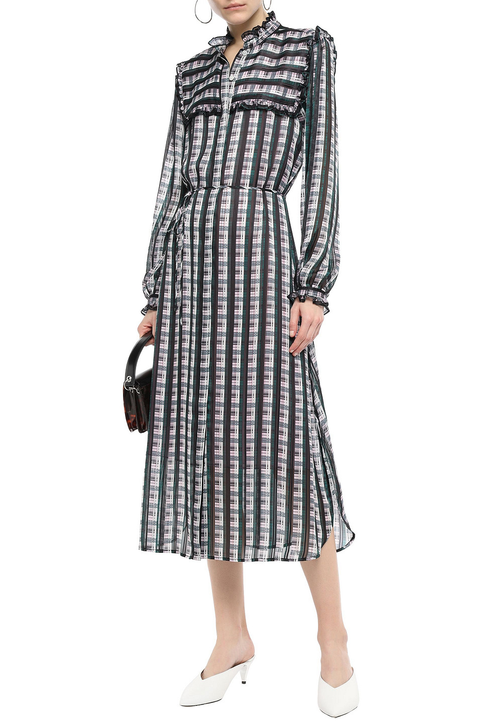 Jason Wu | Jason Wu Woman Ruffle-trimmed Checked Organza-jacquard Midi Dress Black | Clouty