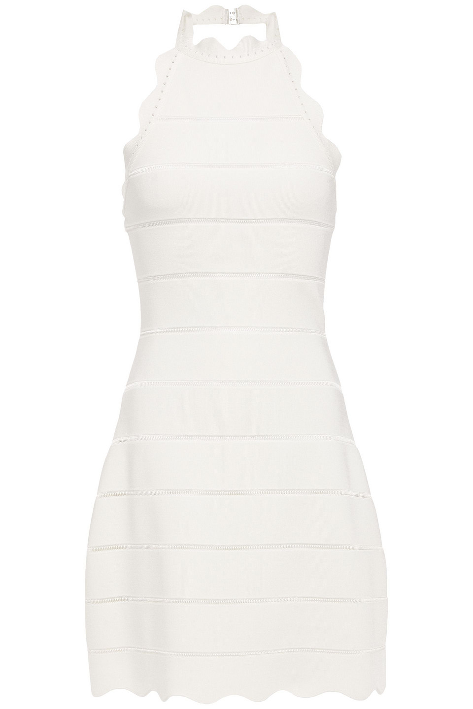 Hervé Léger | Herve Leger Woman Scalloped Bandage Halterneck Mini Dress Off-white | Clouty