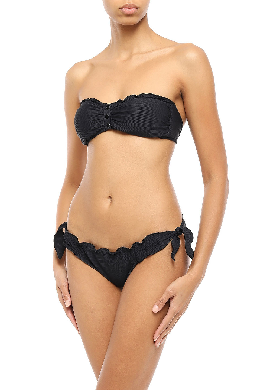 Melissa Odabash   Melissa Odabash Woman St. Martin Ruffle-trimmed Ribbed Bandeau Bikini Top Black   Clouty
