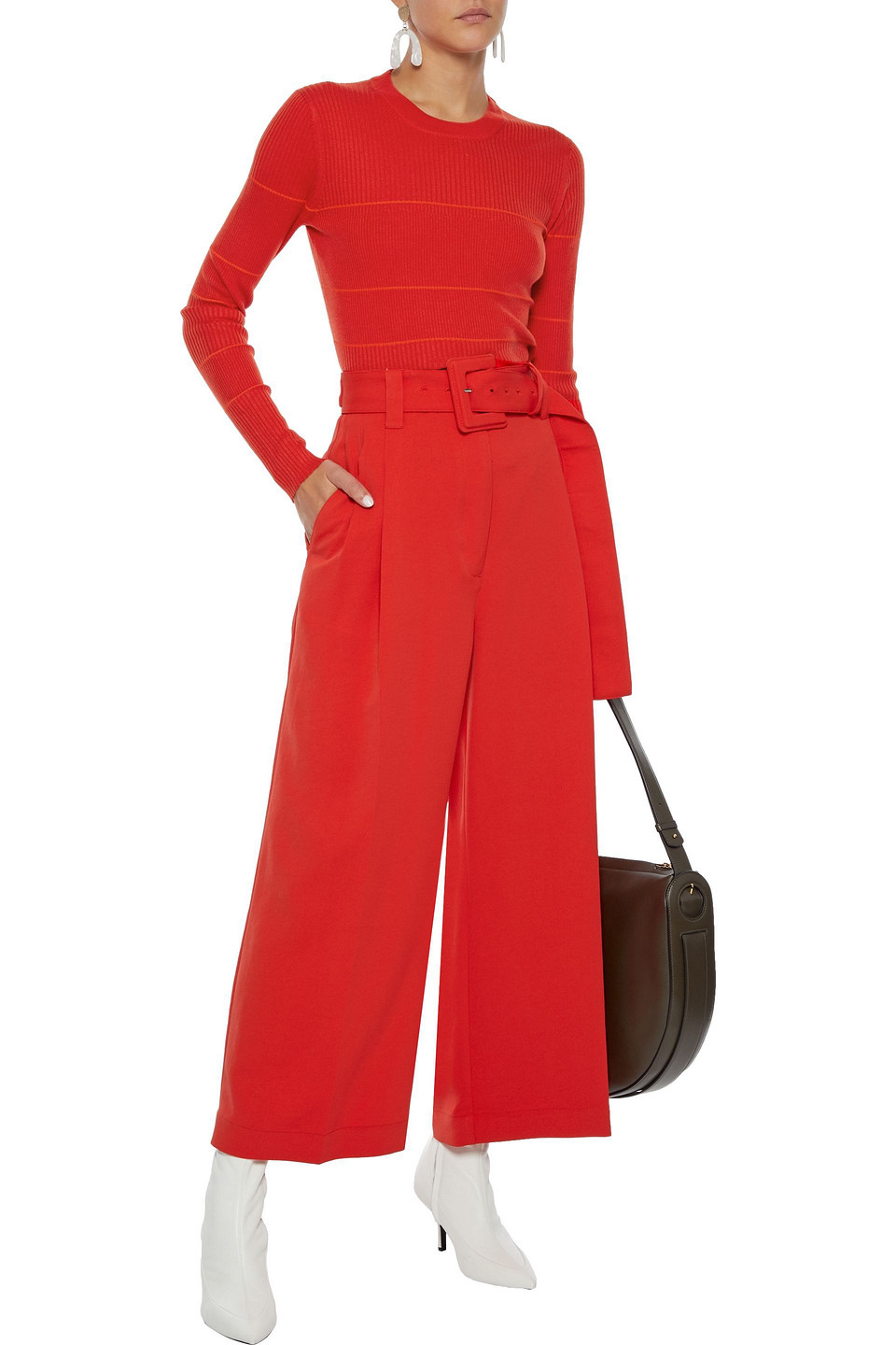 Proenza Schouler | Proenza Schouler Woman Cropped Belted Canvas Wide-leg Pants Tomato Red | Clouty