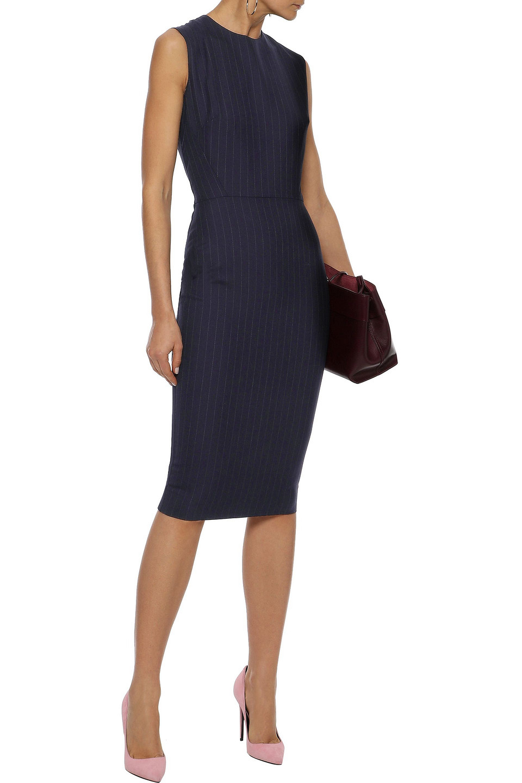 Victoria Beckham   Victoria Beckham Woman Paneled Pinstriped Wool-blend Dress Midnight Blue   Clouty