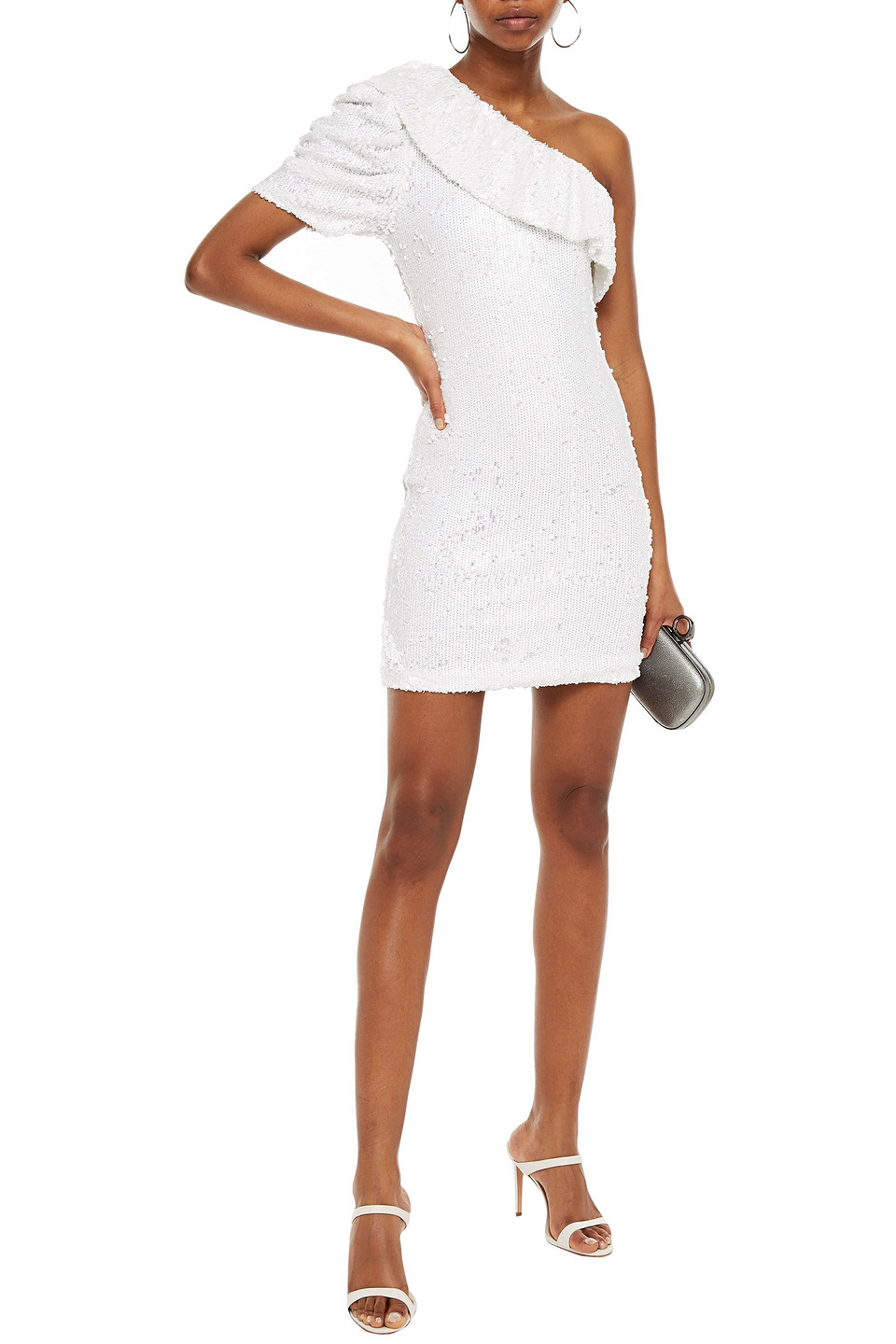 IRO | Iro Woman One-shoulder Ruffled Sequined Tulle Mini Dress White | Clouty