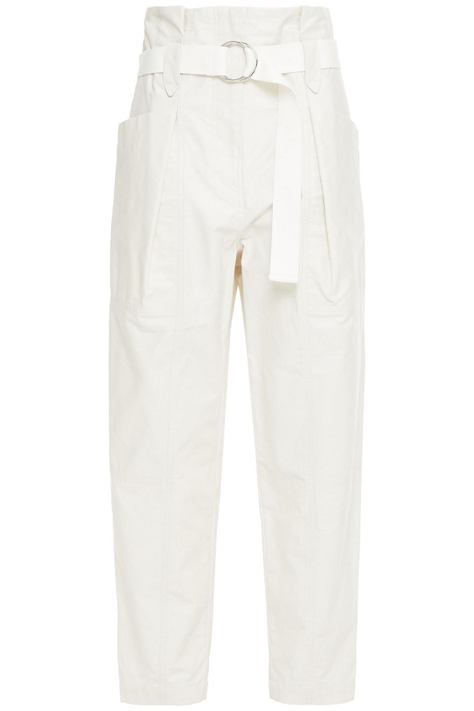 IRO | Iro Woman Cursola Belted Cotton-gabardine Tapered Pants Ecru | Clouty