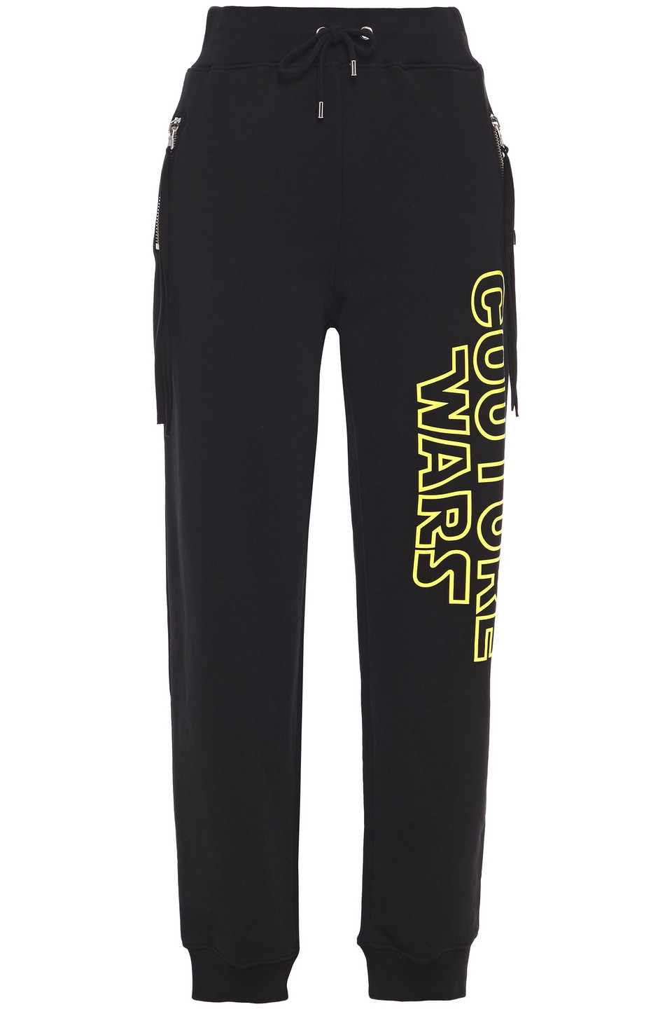 MOSCHINO | Moschino Woman Printed French Cotton-terry Track Pants Black | Clouty