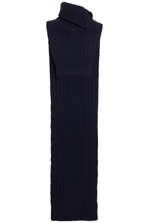 LANVIN | Lanvin Woman Ribbed Wool Turtleneck Dickey Navy | Clouty