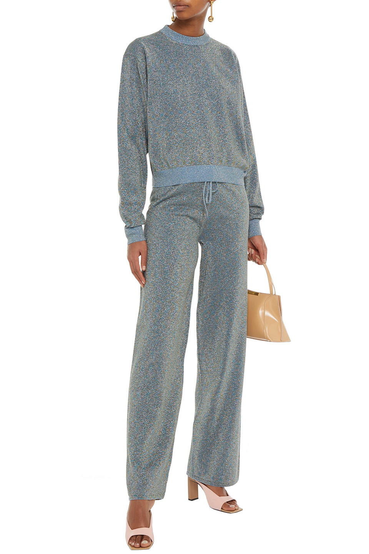 LANVIN   Lanvin Woman Cotton-blend Lurex Sweater Light Blue   Clouty