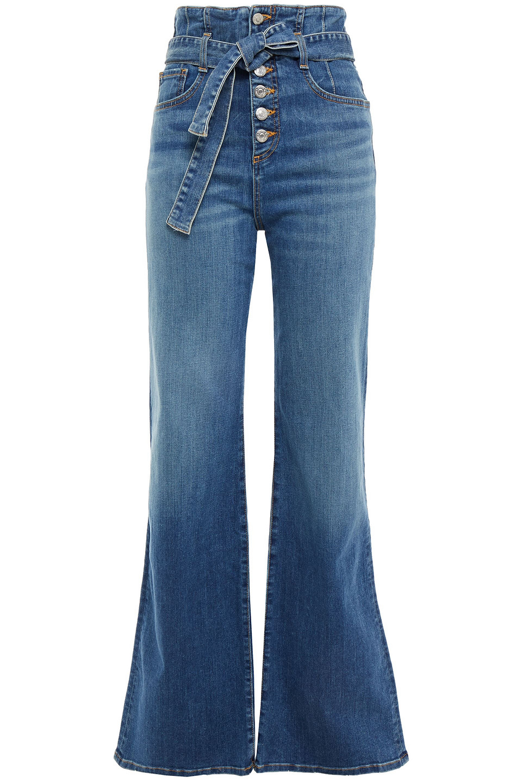 Veronica Beard | Veronica Beard Woman Rosanna Corset Belted High-rise Wide-leg Jeans Mid Denim | Clouty
