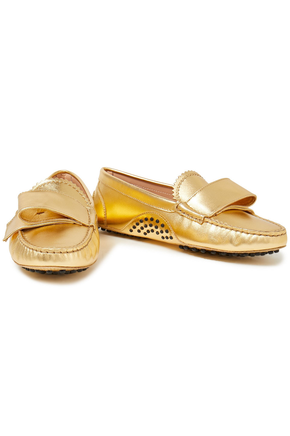 Tod's | Tod's Woman + Alessandro Dell'acqua Bow-embellished Metallic Leather Loafers Gold | Clouty