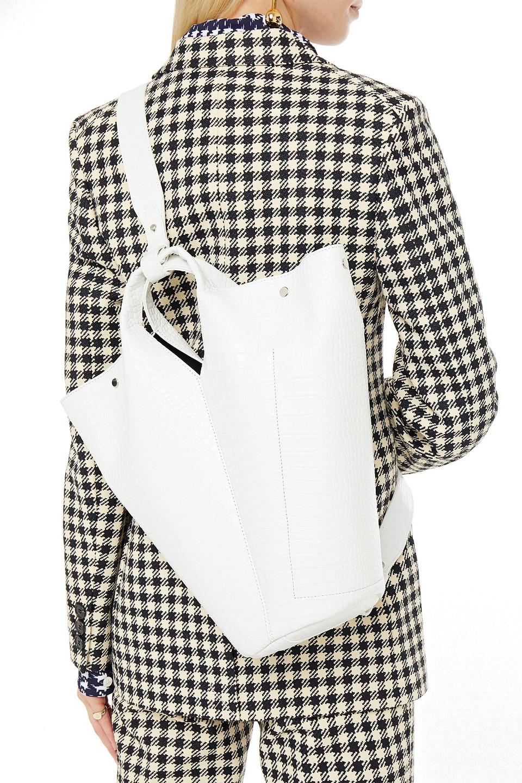 Elena Ghisellini   Elena Ghisellini Woman Diana Touch Croc-effect Leather Bucket Bag White   Clouty