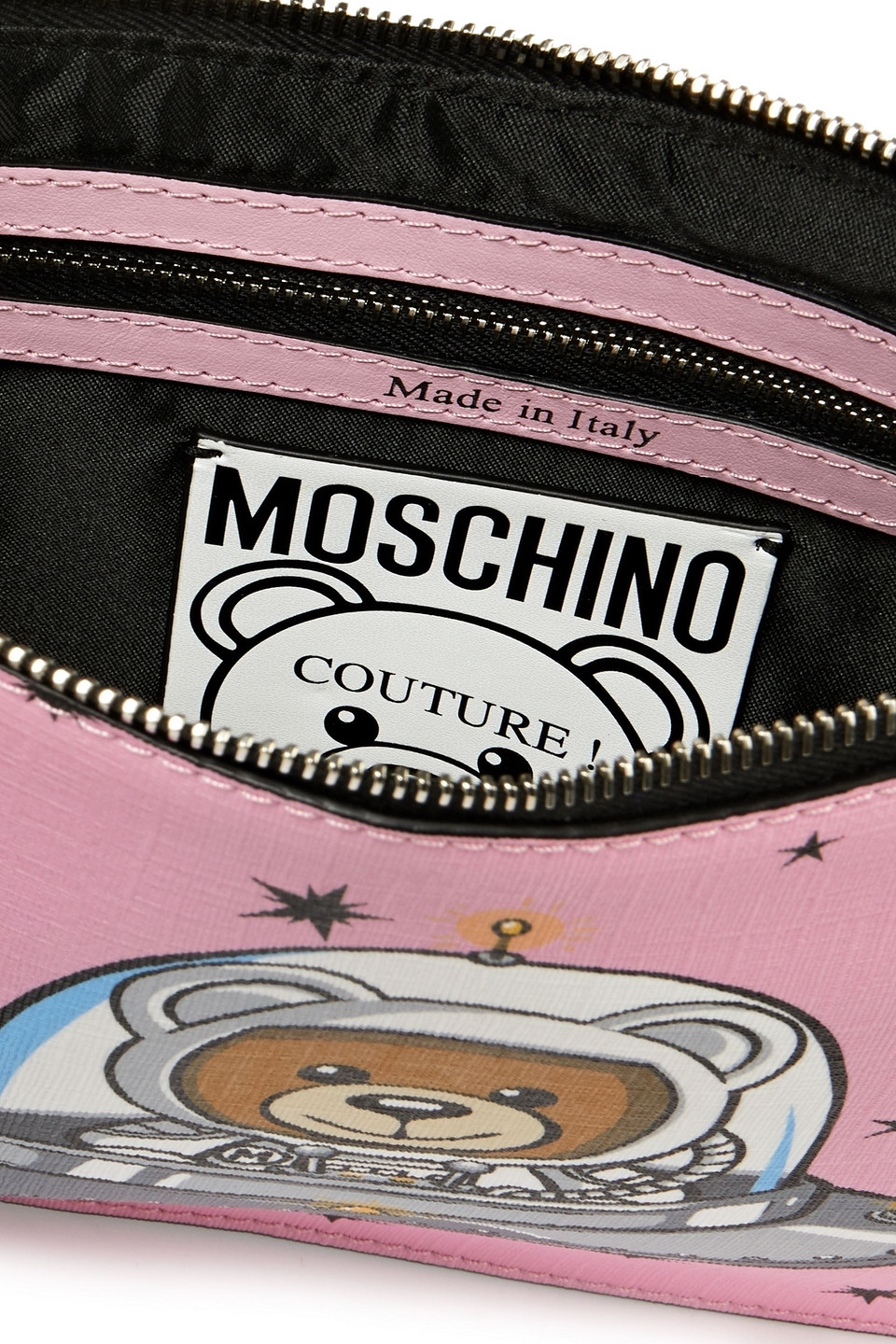 MOSCHINO | Moschino Woman Leather-trimmed Embellished Printed Faux Leather Pouch Baby Pink | Clouty