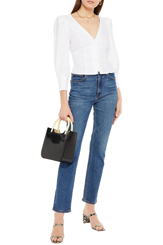 Reformation   Reformation Woman Liza High-rise Slim-leg Jeans Mid Denim   Clouty