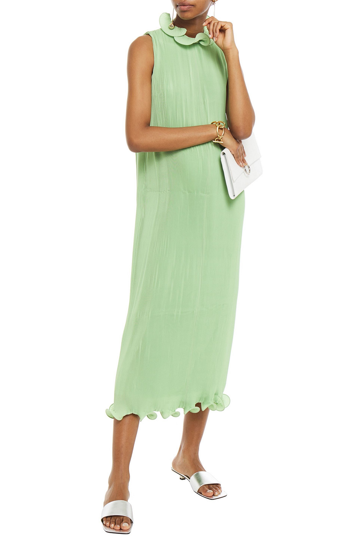 TIBI | Tibi Woman Ruffled Plisse Satin Midi Dress Light Green | Clouty