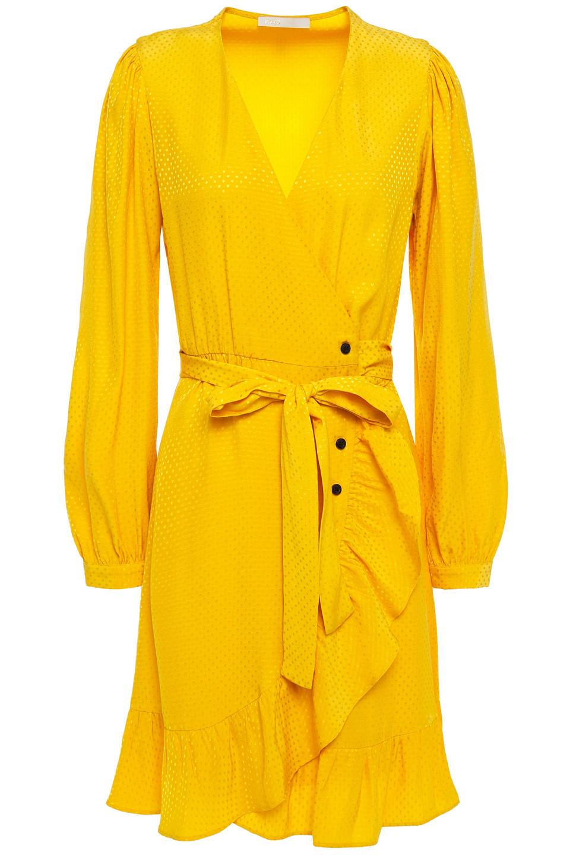 Maje | Maje Woman Seya Ruffled Polka-dot Jacquard Wrap Dress Yellow | Clouty
