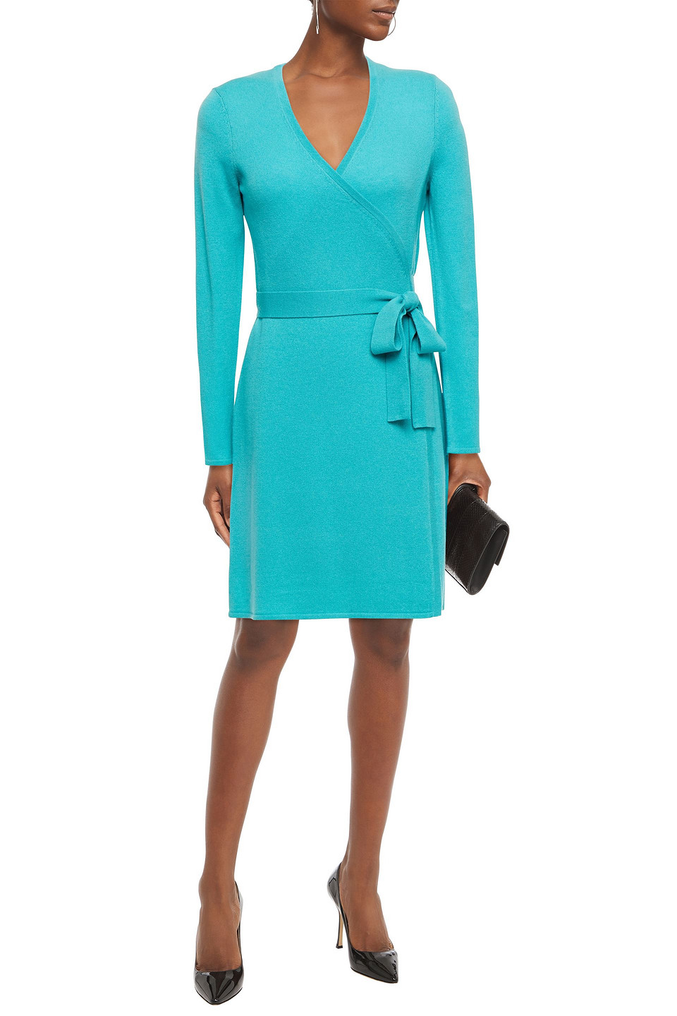 Diane Von Furstenberg | Diane Von Furstenberg Woman Wool And Cashmere-blend Mini Wrap Dress Turquoise | Clouty