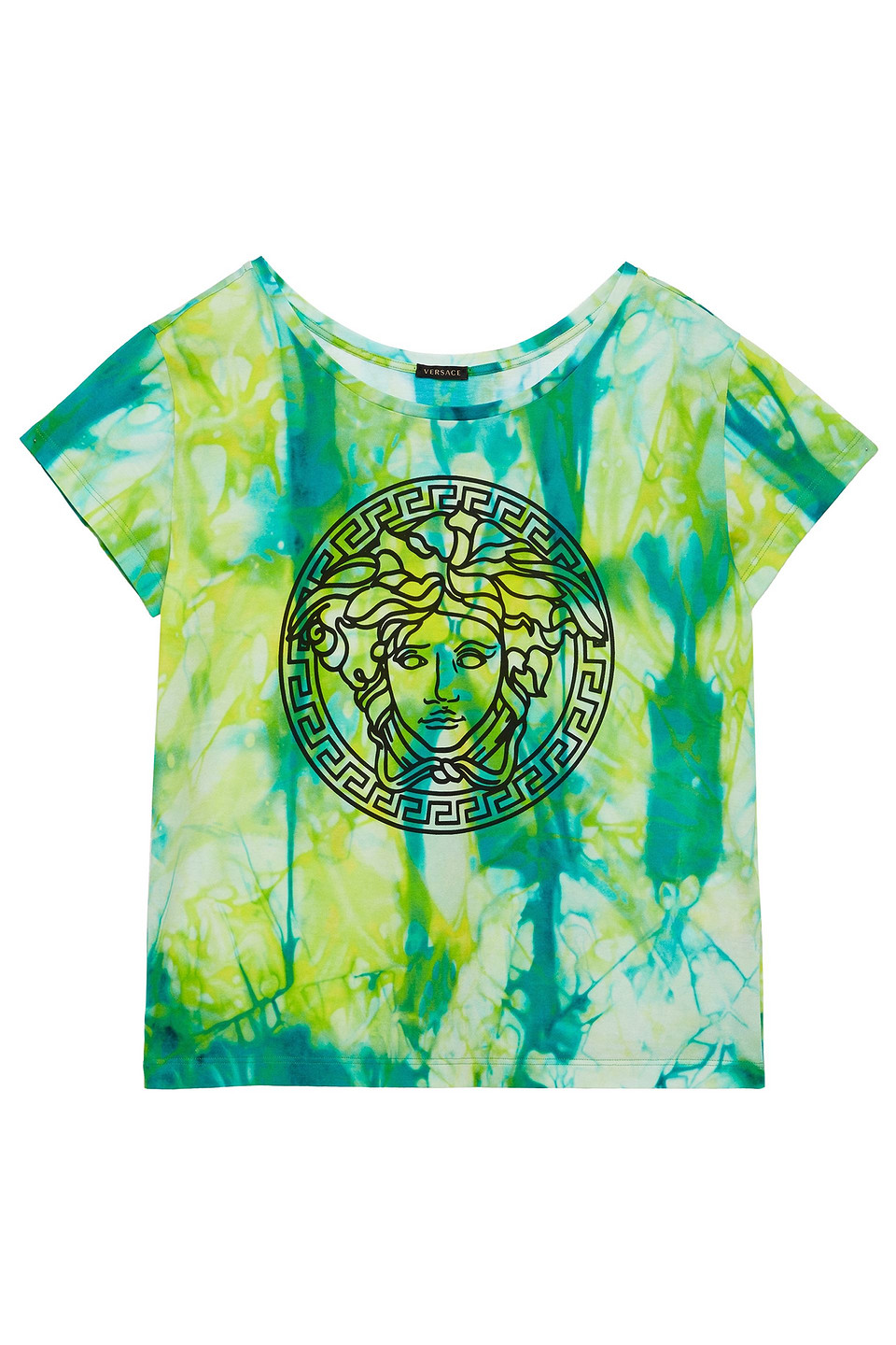Versace | Versace Woman Printed Cotton-jersey T-shirt Lime Green | Clouty