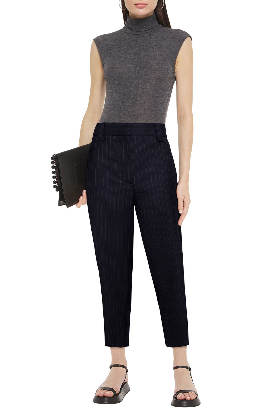 Acne Studios | Acne Studios Woman Pinstriped Wool-twill Tapered Pants Navy | Clouty