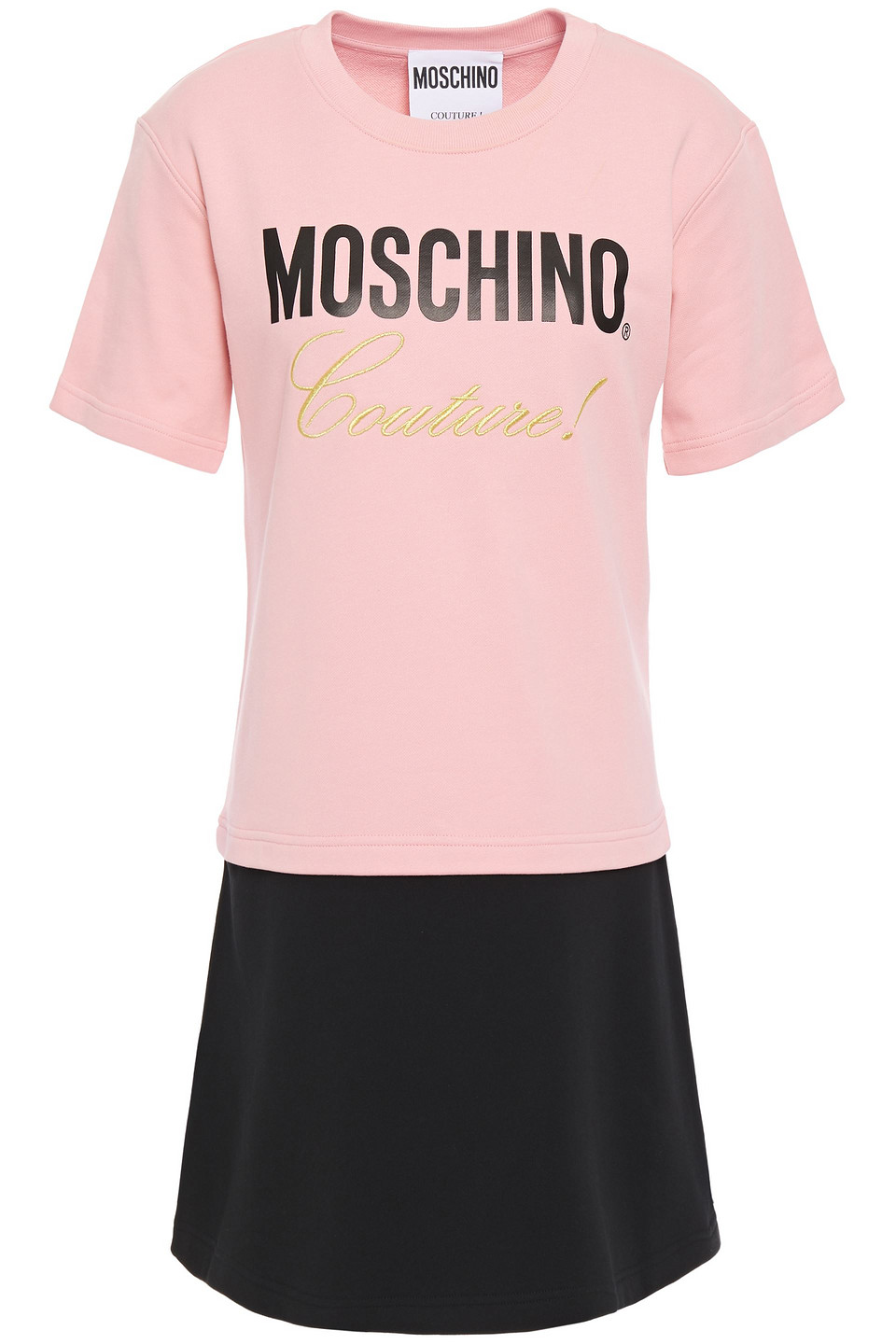 MOSCHINO | Moschino Woman Embroidered Two-tone Printed French Cotton-terry Mini Dress Baby Pink | Clouty